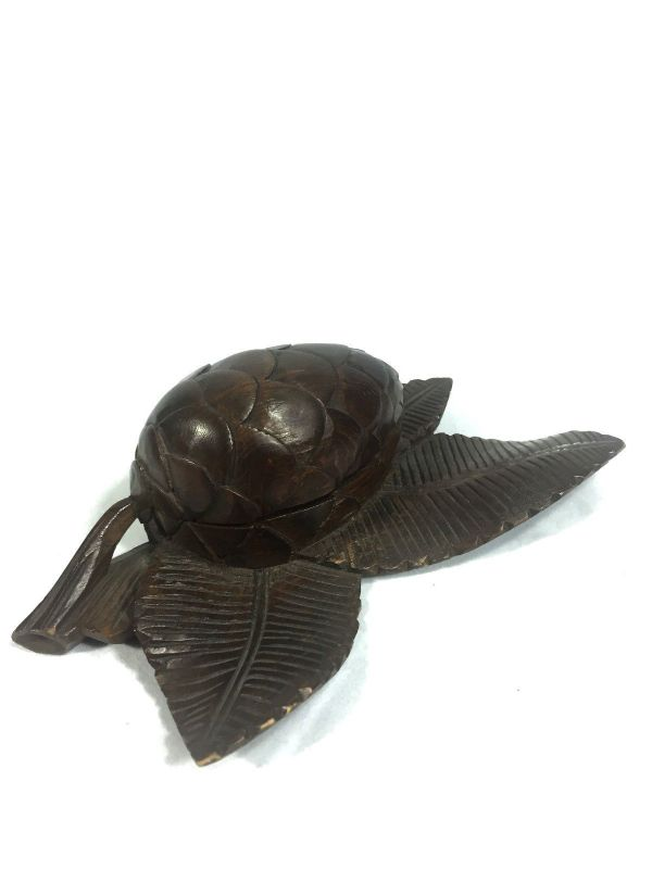 Antique Wooden Inkwell Black Forest Hand Craved Acorn Design